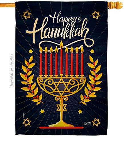 Angeleno Heritage Happy Hanukkah House Flag Winter Candle Bonsai Menorah Jewish Chanukah David Decoration Banner Small Garden Yard Gift Double-Sided, 28' x 40', Made in USA