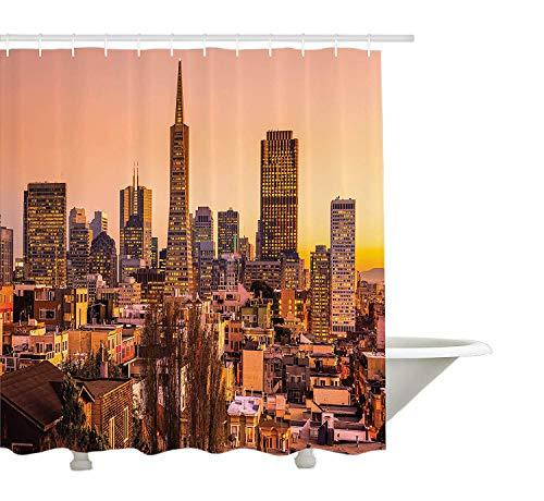 Yeuss USA Duschvorhang, San Francisco Skyline bei Sonnenuntergang Kalifornien USA Downtown Panorama,Stoff Badezimmer Dekor Set mit Haken,Pfirsich Orange Gelb