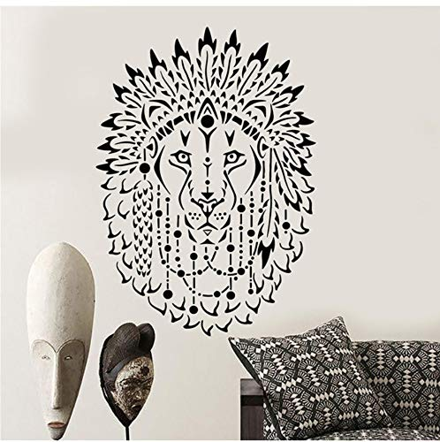 Roi Lion Africain Animal Belle Plumes vinyle autocollant mural décor à la maison bricolage art mural papier peint
