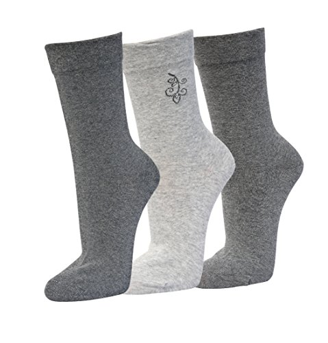 Premium Sox 3 Paar Damensocken venenfre&lich 39-42 schwarz - anthrazit -grau