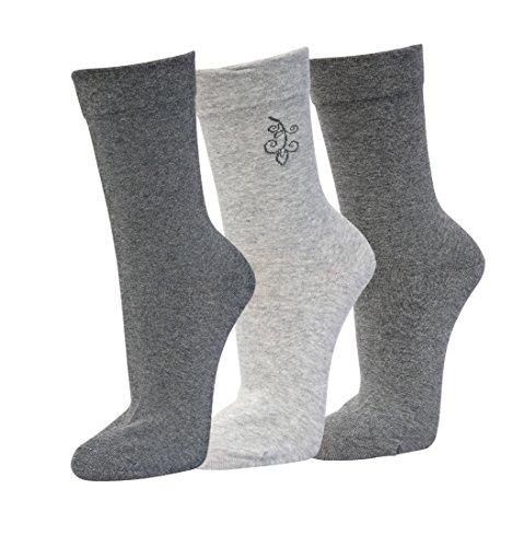 Premium Sox 3 Paar Damensocken venenfreundlich 39-42 schwarz - anthrazit -grau