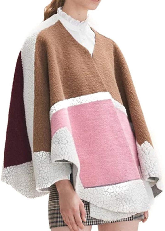 LIULIFE Women's Shawl Cape Poncho Wool Large Cloak Autumn Winter Fashion Coat Knit Cardigan