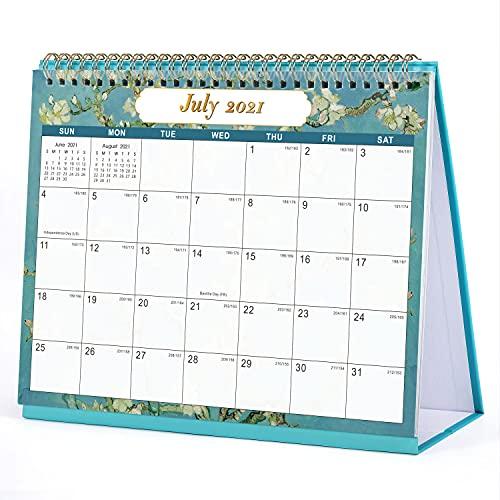 Eono de Amazon - Calendario de escritorio 2021-2022, julio de 2021 a diciembre de 2022, calendario planificador de escritorio de flores con memorando, 25 x 21 x 6 cm