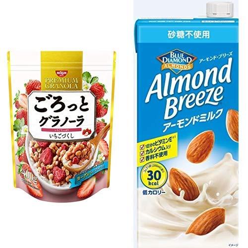 【セット買い】ごろっとグラノーラいちごづくし400g 400gX6袋 + アーモンド・ブリーズ 砂糖不使用 1L×6本