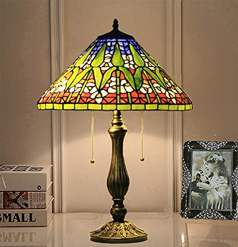 NANXCYR Lámpara de Mesa de Estilo Tiffany Tradicional Multicolored Antigua Flor de vitrales Decoración de Sombra Lámpara de Noche para Sala de Estar Dormitorio NightStand Home Bookcase