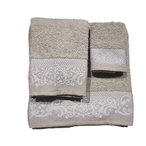 Toallas de baño en Gris , Set 3 Piezas Cenefa 100% algodón Portugués , Gran absorción, 500 g.