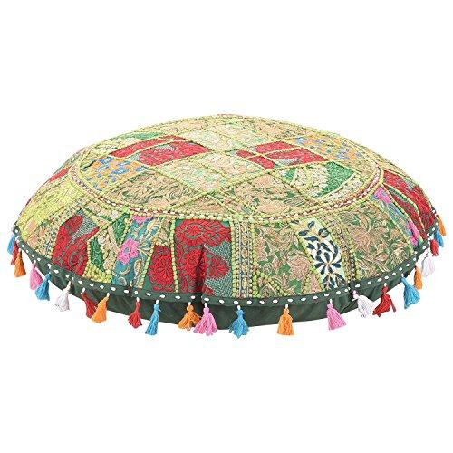 Sophia Art Coussin de Sol Rond Coussin Patchwork Pouf Ottoman Vintage Indien Pied Tabouret Sac de Haricots Housse de Coussin de Sol Home Decor Salon Ottoman Bohemain oreillers (Green, 32 inch)