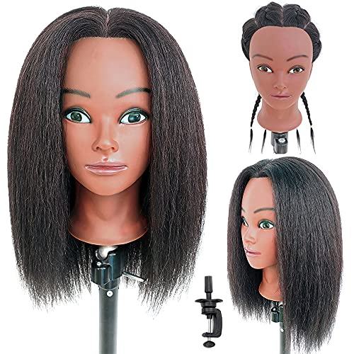 Afro Mannequin Head 100% Real Hair Cosmetology Training Head Manikin Doll Head with Stand for Hairdresser Hairstylist Practice Head for Hair-styling Braiding Coiling Curling Display (14inch-Classical)