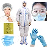 ORILEY ORPPE6 6-in-1 PPE Kit Personal Protective Equipment Combo with DRDO Approved Coverall Suit, Meltblown Filter Face Mask, Nitrile Hand Gloves, Head Cover Cap, Garbage Bag and Safety Goggles