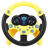 Juguete para volante, coche de copiloto con música y luz para niños juguetes de aprendizaje para conducir regalo de educación musical para niños pequeños aprendices (amarillo)