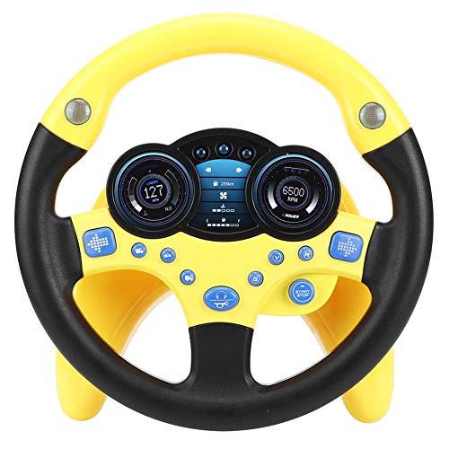 Kinder Beifahrer Lenkrad Auto Spielzeug mit Musik und Licht Pretend Drive Lernspielzeug Musical Geschenk für Kind lernen Fahrer(Gelb)