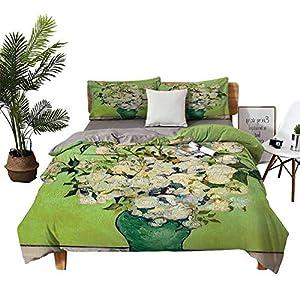 Silk Flower Arrangements DRAGON VINES 4 Bedding Cover Set Silk Sheets Flat Bed Sheet Pillowcase Iris Flower and Rose Blue Bed Sheet W85 xL85