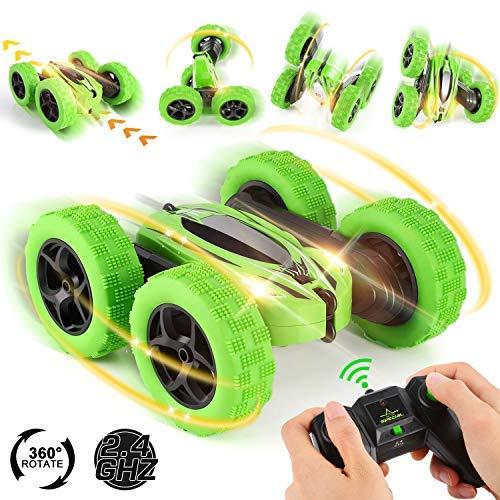 OCDAY Ferngesteuertes Auto, Wiederaufladbar RC Stunt Auto Rennauto, High Speed Spielzeugauto, Radio Ferngesteuerter Buggy Auto, Auto Spielzeug Rennfahrzeug für Kinder Jungen Mädchen (Grün)