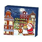 Baoblaze Calendario de Adviento de Navidad Caja de Regalo Adornos de fabricación de Joyas de Navidad Calendario de Adviento Cuenta Regresiva para 2021 Regalos - Pulsera de Bricolaje