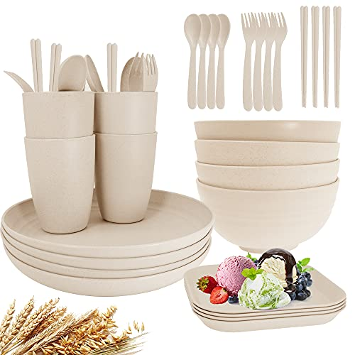 Unbreakable Wheat Straw Dinnerware Sets of 4, Farielyn-X Lightweight Camping Plates and Bowls Set with Chopsticks Forks Spoons, Microwave and Dishwasher Safe Dinnerware Set, Great for Kids, Adult