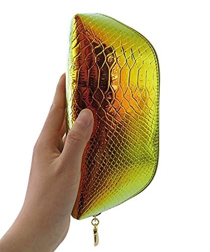 RemeeHi Mini Shell-Clutch Damen Kleine Grün Glitzy PU Leder Handtasche Petite Hologramm Schlangenhaut Laser Tasche Kunstleder Reißverschluss Münzgeldbörse Hologramm Minaudiere