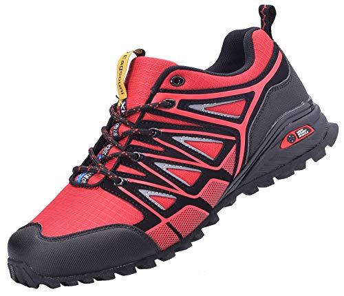 Eagsouni Laufschuhe Turnschuhe für Herren Damen Straßenlaufschuhe Traillaufschuhe Joggingschuhe Walkingschuhe Sneaker Outdoor Traillauf Fitness Gym Schuhe, Rot, 42 EU