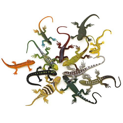 Kvvdi 12pcs 5 Inch Colorful Fake Plastic Lizard Toys Action Figure for Kids Reptile Party Supplies Toy Lizards Realistic Favors