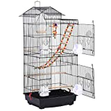 Yaheetech 99CM Roof Top Large Metal Bird Cage Parrot Cockatiel Conure Parakeet Budgie Lovebird Finch Pet Bird Cage w/Ladder Hanging Toys
