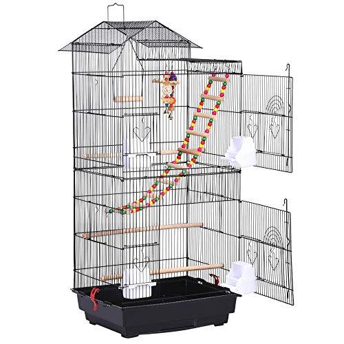 Yaheetech Jaula de Pájaros Jaula de Aves Canarios 46 x 35,5 x 99 cm Jaula para Mascota