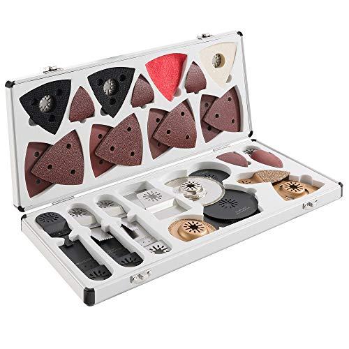 100-tlg Multifunktionswerkzeug Multitool Zubehör Set im Aluminium Koffer/verschieden Sägeblätter und Schleifwerkzeuge