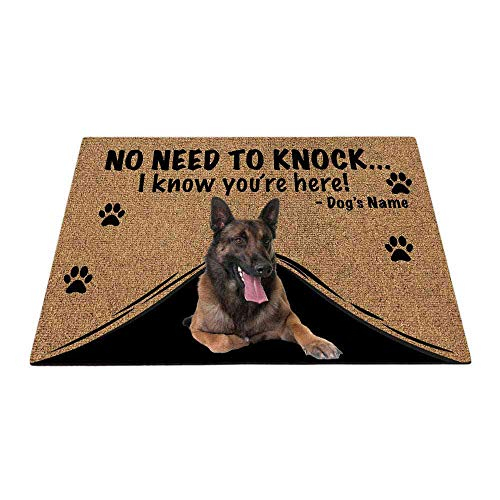 Bageyou - Zerbino personalizzato con il mio amore cane belga Pastore Malinois Welcome Mat Not Need to Knock I Know You're Here 69,8 x 45 cm