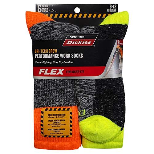 Genuine Dickies Mens Dri Tech Premium Performance Crew Work Sock 6 Pair Pack Hi Visibility Multi Color Shoe Size 6 12