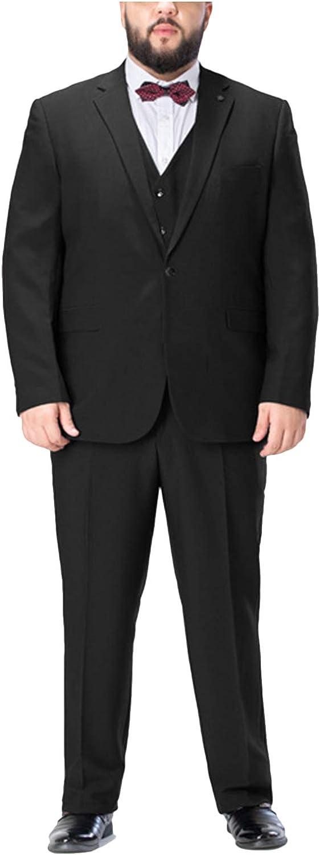 Formal Men's 3 Piece Business Suit Plus Size Notch Lapel 1 Button Blazer Jacket Vest Pants