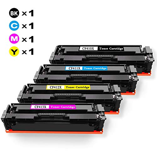 4X Airby Toner Kompatibel für HP Color Laserjet Pro M477 M477FDW M477FDN M477FNW M452DN M452DW M452NW M377 M377DW Druckerpatronen - 410X CF410X-CF413X
