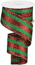 Full Glitter Stripe Wired Edge Ribbon - 2.5