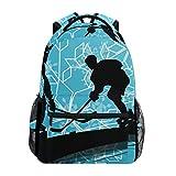 School Backpack Ice Hockey Players Sport Bookbag for Boys Girls Travel Bag