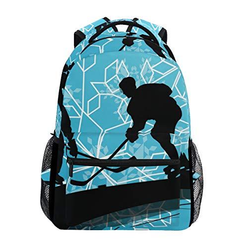 Eishockey Spieler Sport Schulrucksack für Jungen Mädchen Kinder Reisetasche Bookbag