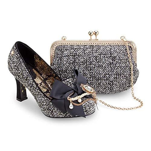 Joe Browns Ensemble de chaussures et d'embrayage vintage pour femme Motif floral Gris sans sac - Gris - Tweed gris., 38 EU