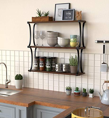 J JACKCUBE DESIGN 3 Tier Wood Floating Shelf, Wall Mounted Wooden Shelves with Curved Metal Brackets for Bedroom, Living Room, Bathroom, Kitchen, Office - MK476C
