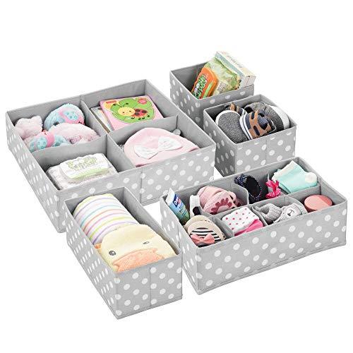 mDesign 5er-Set Kinderzimmer Aufbewahrungsbox – Aufbewahrungsboxen für Babysachen und Windeln – auch zur Spielzeugaufbewahrung geeignet – Kiste mit mehreren Fächern – hellgrau/weiß