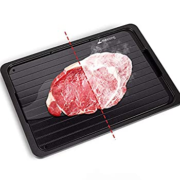 MEIDUNG Rapid Defrosting Tray for Thawing Frozen Meat Thawing Plate for Fast defrosting of Frozen Foods Premium Quality Thawing Tray with Drip Tray/Silicone Sponge/Tongs