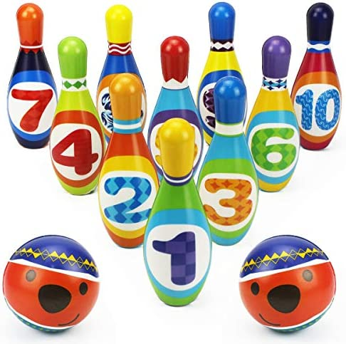 iPlay iLearn Kids Bowling Toys Set Toddler Indoor Active Play Game Soft 10 Foam Pins 2 Balls product image