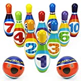 iPlay, iLearn Kids Bowling Toys Set, Toddler Indoor Active Play Game, Soft 10 Foam Pins & 2 Balls, Development, Birthday Party Gifts for 24 Months, 2 Year Olds, Children, Boys ,Girls (Gift Pack)
