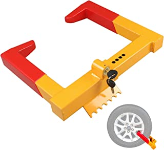 Trailer Wheel locks clamp - Tire Lock anti theft wheel boot tire claw security boots For ATV TRAILERS Yellow/Red 2 Keys