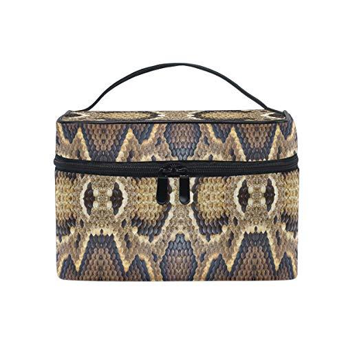 HaJie - Bolsa de maquillaje de gran capacidad con estampado de serpiente de animal para viajes, portátil, neceser de almacenamiento, bolsa de lavado para mujeres y niñas