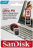 SanDisk Ultra Fit, Memoria flash USB 3.1 de 16 GB con hasta 130 MB/s de velocidad de lectura,Tradicional,Negro,16GB