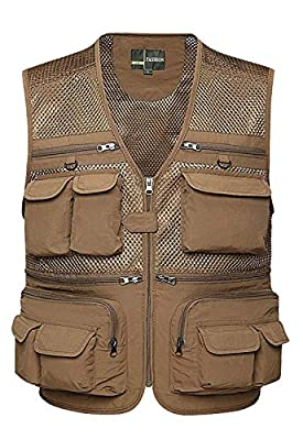 Z&A Mens Summer Casual Outdoor Work Safari Fishing Travel Photo Vest with Pockets (XXX-Large, 02 Khaki)