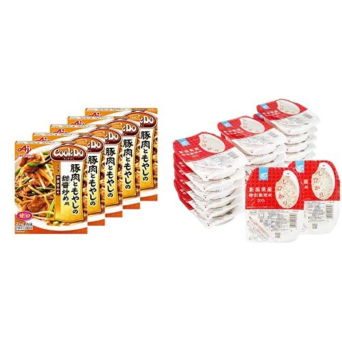 味の素 Cook Do 豚肉ともやしの甜醤炒め用 90g ×5個 + Happy Belly パックご飯 新潟県産こしひかり 200g×20個(白米) 特別栽培米