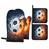 Juego de 4 Guantes de Horno y agarraderas,Balón de fútbol de Alta resolución en Imagen de Fuego y Agua para un Juego de Pelota de fútbol Imprimir,Utilizado para cocinar,Hornear y Asar a la Parrilla