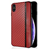 stilluxy IP Xs Max Case Compatible with iPhone Xmax Cases Luxury Xphone 10 10S Max Phone Cover Matte PU Leather i XsMax Ultra Slim Thin Protective Phone Bumper for i-Phone XsMax (Red)