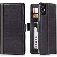 Compatible with iPhone 12 / iPhone 12 Pro 6.1 inches Only Made Of Premium Full Grain Leather with Solid Stitches Built-in Magnetic Closure To Keep Your iPhone 12 / iPhone 12 Pro Flip Case Closed 3 Card Slots and Cash Pocket - Ditch Your Wallet Wirele...