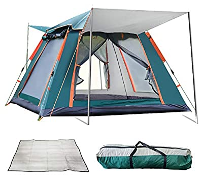 REAVEE Instant Pop Up Family Camping Tent for 3 to 4 Person, Waterproof Cabin Tent with Rainfly and Carry Bag - Easy Setup in 60s