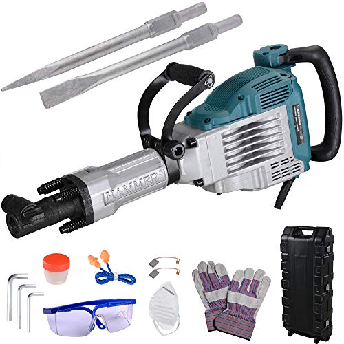 WeChef 3600W 1800BPM Electric Concrete Breaker Demolition Jack Hammer with 2 Chisels Goggle Rolling Case Removal Tools