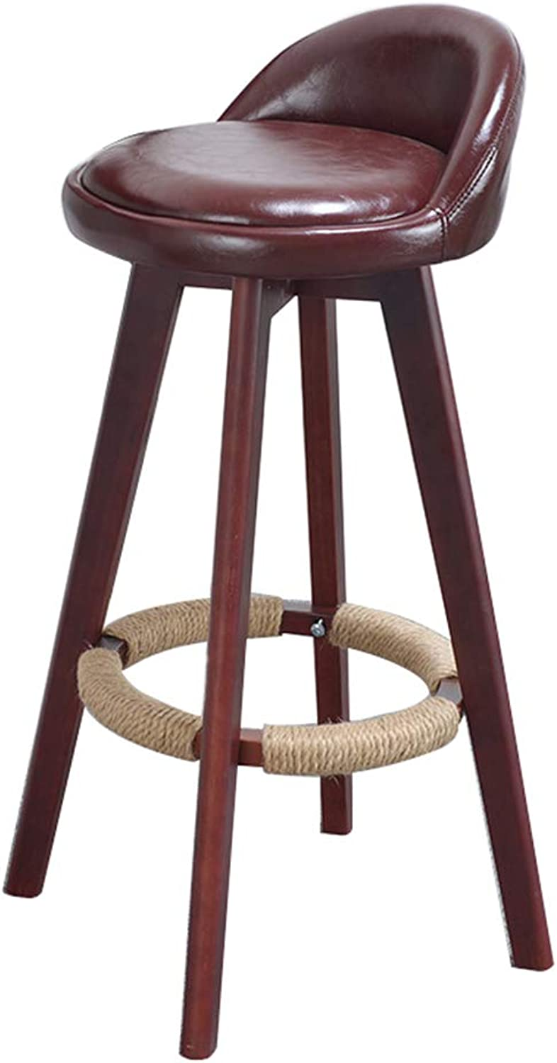 Furniture Red Bar Stool Modern Style Bar Chair for Kitchen Breakfast redating Stool Wooden Legs (Sitting Height  73CM)