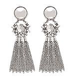 Bohemian Tassel Chandelier Dangle Earring For Women Clip On Earrings Long Drop Statement Earrings (silver)